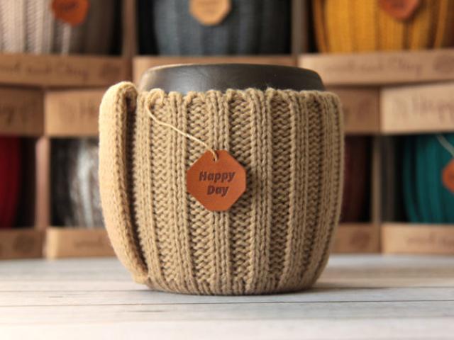 вязаные кружки для кофе ручной работы
