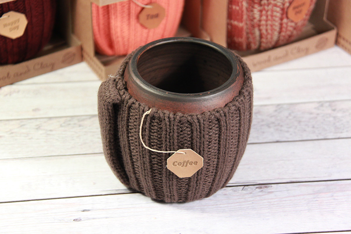 вязаная кружка для кофе ручной работы