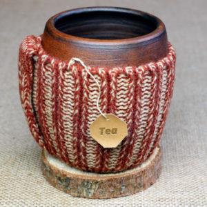 вязаная кружка для чая ручной работы
