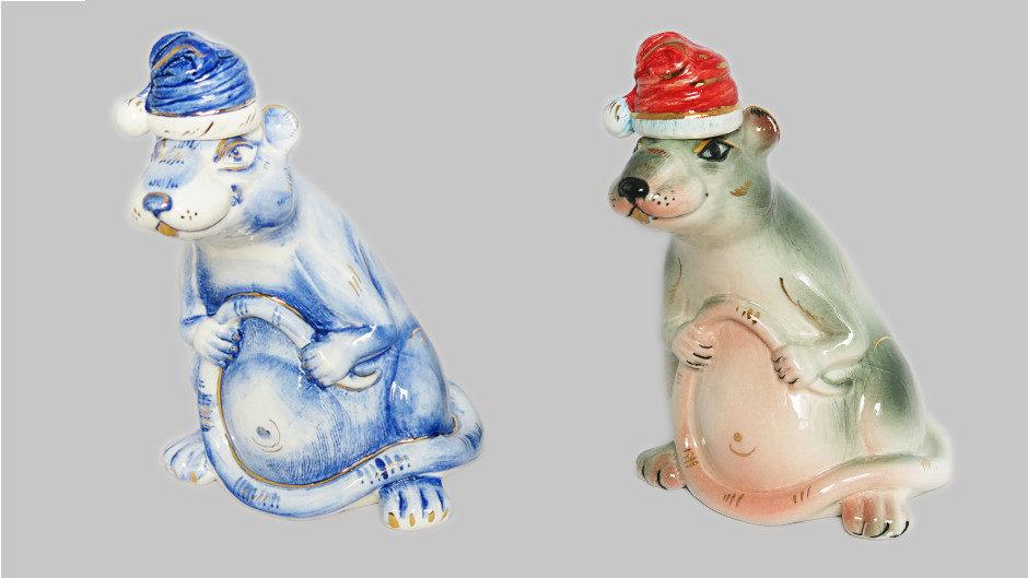 Фарфоровый штоф в виде новогодней крысы