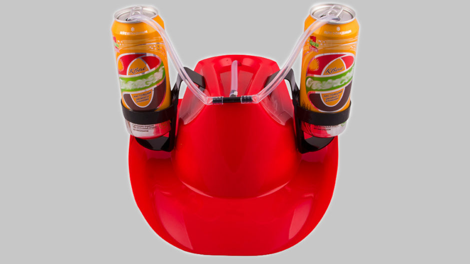 Шляпа с подставками под банки красная