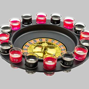 Алкогольная рулетка с шестнадцатью стеклянными рюмками