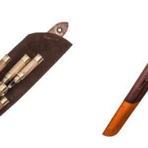 Набор подарочных шампуров с ручкой из дерева в форме патрона