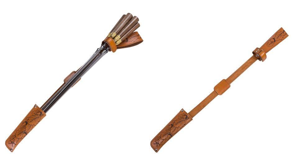 Набор подарочных шампуров с деревянной ручкой в чехле из натуральной кожи
