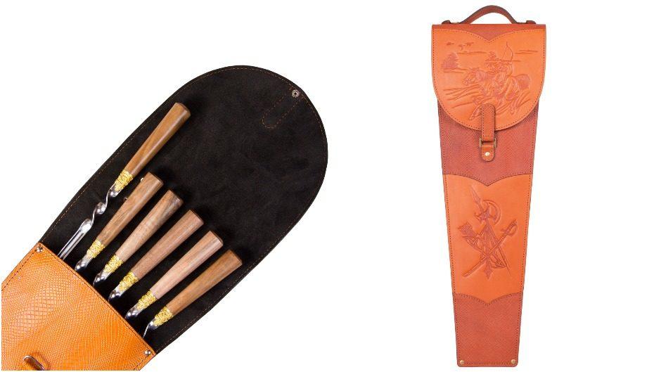 Набор подарочных шампуров с деревянной ручкой в колчане из натуральной кожи