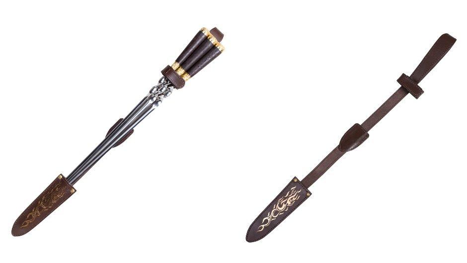 Набор подарочных шампуров с ручкой из дерева в чехле из натуральной кожи