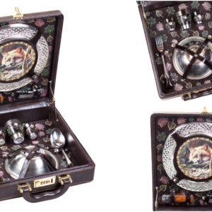 Набор подарочный в дипломате-кейсе на 4 персоны вертикальной компоновки с отделкой ручной работы