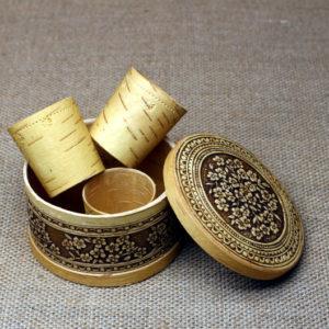 Набор стопок из бересты в подарочной коробочке ручной работы