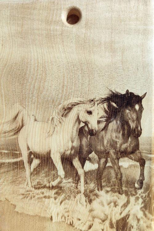 Разделочная доска с рисунком коней