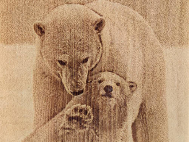 Разделочная доска с рисунком белых медведей