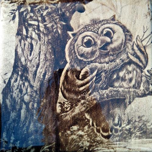 Разделочная доска с рисунком совы из массива сибирского кедра