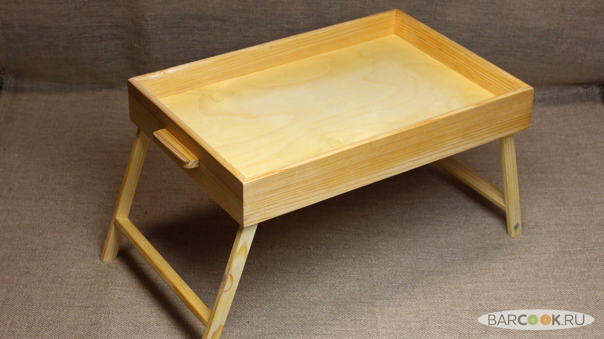 Столик для завтрака в постель из дерева ручной работы